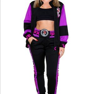 NEW 2 piece purple black track jogger set suit S